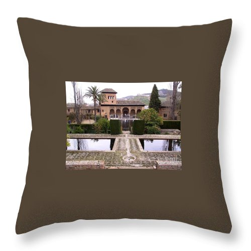Alhambra Throw Pillow featuring the photograph La Alhambra Garden by Thomas Marchessault