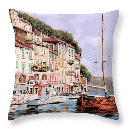 Landscape Throw Pillow featuring the painting La Barca Rossa Alla Calata by Guido Borelli
