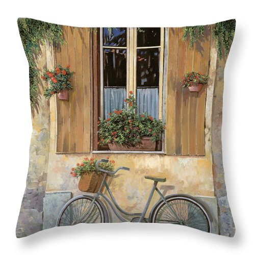 Bike Throw Pillow featuring the painting La Bicicletta by Guido Borelli