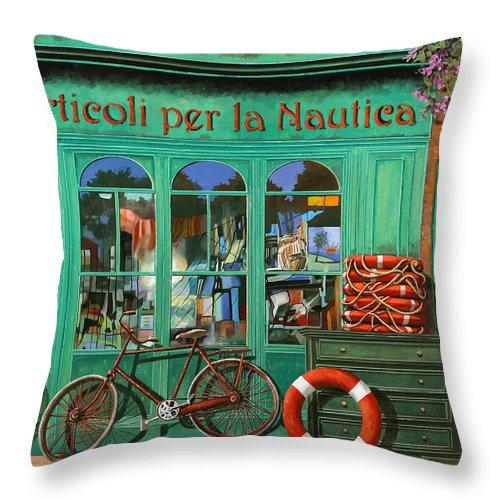 Nautical Shop Throw Pillow featuring the painting La Bicicletta Rossa by Guido Borelli