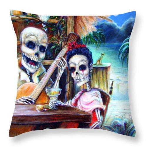 Dia De Lost Muertos Throw Pillow featuring the painting La Borracha by Heather Calderon