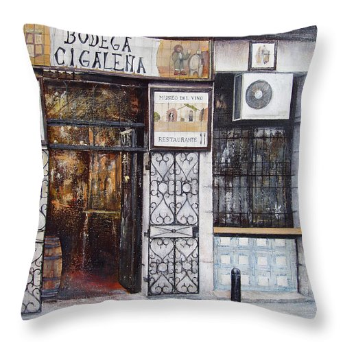 Bodega Throw Pillow featuring the painting La Cigalena Old Restaurant by Tomas Castano