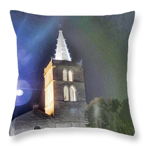 Church Throw Pillow featuring the photograph La Collegiale 2 by Kris Woo