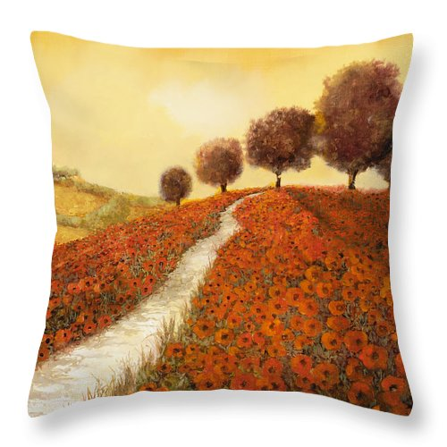 Tuscany Throw Pillow featuring the painting I Papaveri Sulla Collina by Guido Borelli