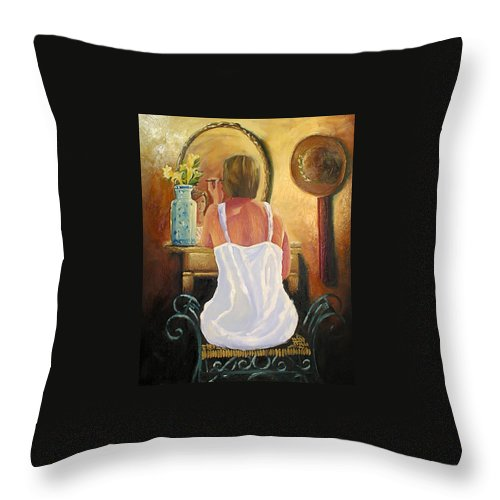 People Throw Pillow featuring the painting La Coqueta by Arturo Vilmenay