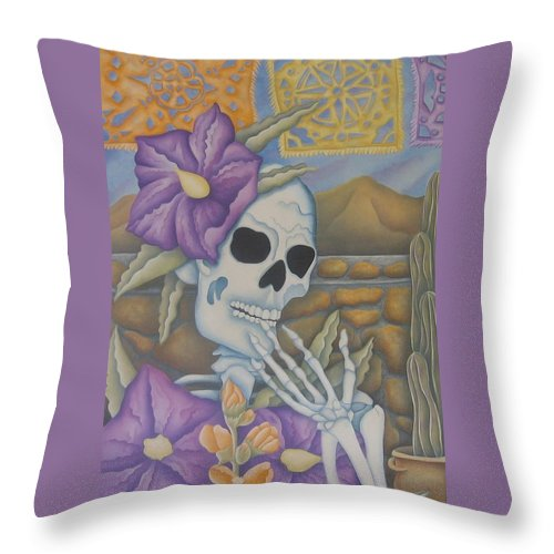 Calavera Throw Pillow featuring the painting La Coqueta- The Coquette by Jeniffer Stapher-Thomas