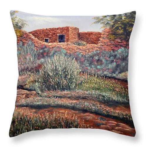 La Cueva New Mexico Throw Pillow featuring the painting La Cueva New Mexico by Barney Napolske