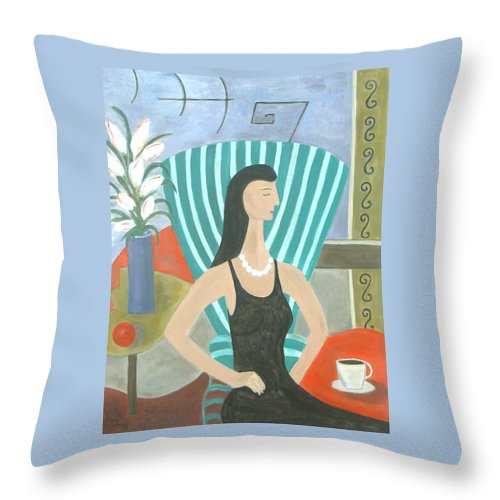Figurative Throw Pillow featuring the painting La Dolce Vita by Trish Toro