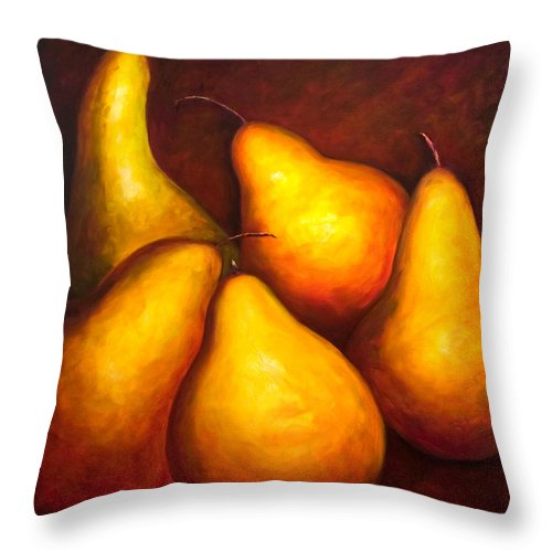 Still Life Yellow Throw Pillow featuring the painting La Familia by Shannon Grissom