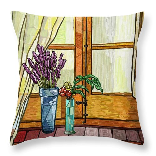 Still Life Throw Pillow featuring the painting La Finestra by Xavier Ferrer