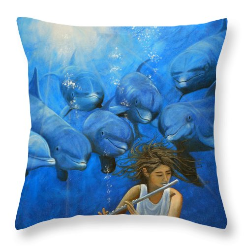 Flautista Throw Pillow featuring the painting La Flautista by Angel Ortiz