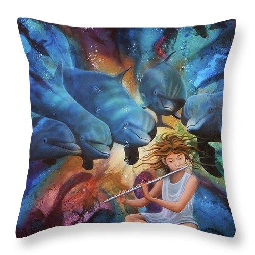 Flautista Throw Pillow featuring the painting la flautista III by Angel Ortiz