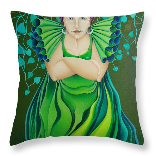 Sacha Circulism Toothpick Painting Throw Pillow featuring the painting La Jerezana 2009 by S A C H A - Circulism Technique