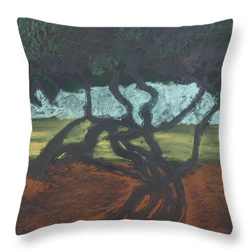 Contemporary Tree Landscape Throw Pillow featuring the mixed media La Jolla II by Leah Tomaino