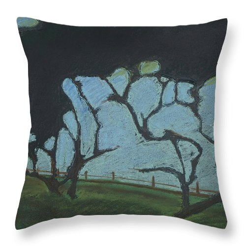Contemporary Tree Landscape Throw Pillow featuring the mixed media La Jolla IIi by Leah Tomaino