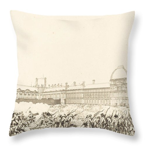 Throw Pillow featuring the drawing La Journee Du 10 Aout 1792 by Antoine-jean Duclos After Charles Monnet