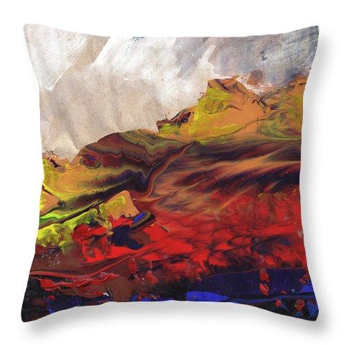 Landscapes Throw Pillow featuring the painting La Mer Rouge by Miki De Goodaboom