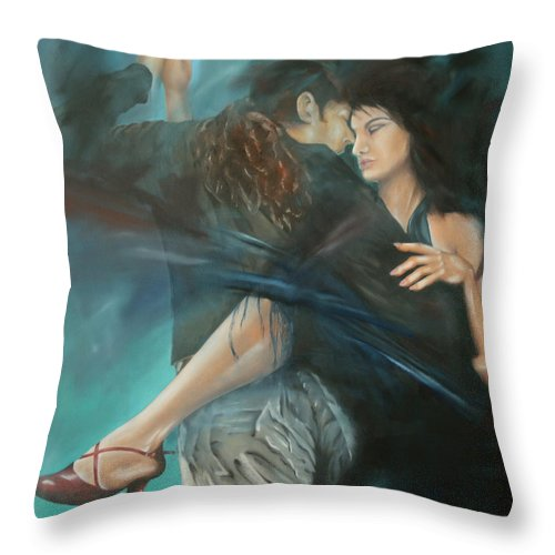 Tango Throw Pillow featuring the painting La Mujer Argentina by Harri Spietz