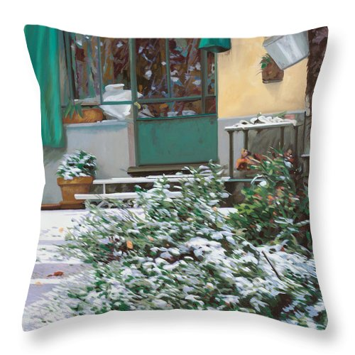 Snow Throw Pillow featuring the painting La Neve A Casa by Guido Borelli