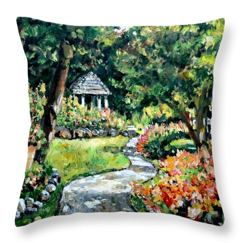 Landscape Throw Pillow featuring the painting La Paloma Gardens by Ingrid Dohm