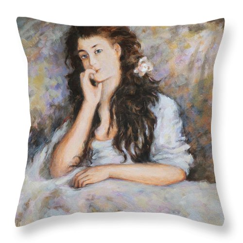 Portrait Throw Pillow featuring the painting La Pensee My Reproduction Of Renoirs Work by Ekaterina Mortensen