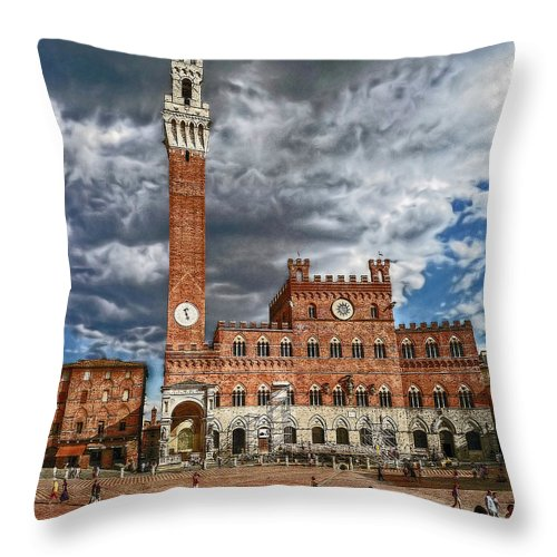 Piazza Throw Pillow featuring the photograph La Piazza by Hanny Heim