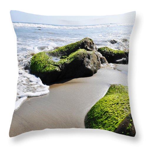 La Piedra State Beach Throw Pillow featuring the photograph La Piedra Shore Malibu by Kyle Hanson