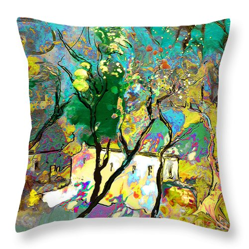 Miki Throw Pillow featuring the painting La Provence 16 by Miki De Goodaboom