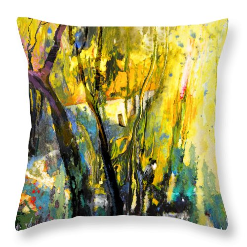 Acrylics Throw Pillow featuring the painting La Provence 21 by Miki De Goodaboom