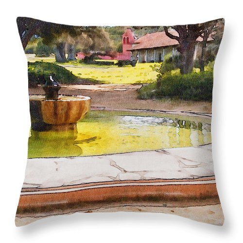 Architecture Throw Pillow featuring the photograph la Purisima Fountain by Sharon Foster