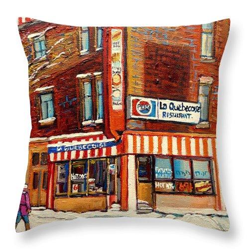 La Quebecoise Restaurant Deli Throw Pillow featuring the painting La Quebecoise Restaurant Deli by Carole Spandau