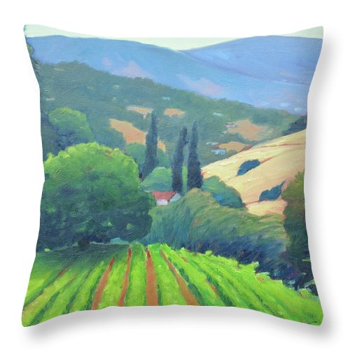 Vinyard Throw Pillow featuring the painting La Rusticana Afternoon. by Gary Coleman