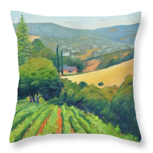 Vinyard Throw Pillow featuring the painting La Rusticana Morning by Gary Coleman