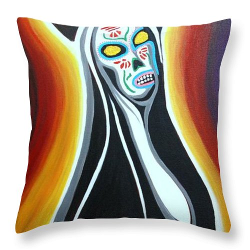 Day Of The Dead Throw Pillow featuring the painting La Santa De Lastima by Pedro Flores