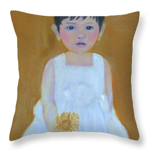 Child Throw Pillow featuring the painting La Senorita And The Sunflower by Michela Akers