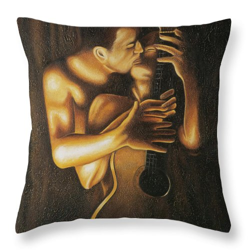 Acrylic Throw Pillow featuring the painting La Serenata by Arturo Vilmenay