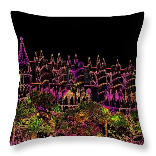 La Seu Throw Pillow featuring the digital art La Seu The Cathedral Of Palma by Helmut Rottler