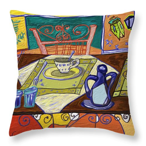 Still Life Throw Pillow featuring the painting La Taula by Xavier Ferrer