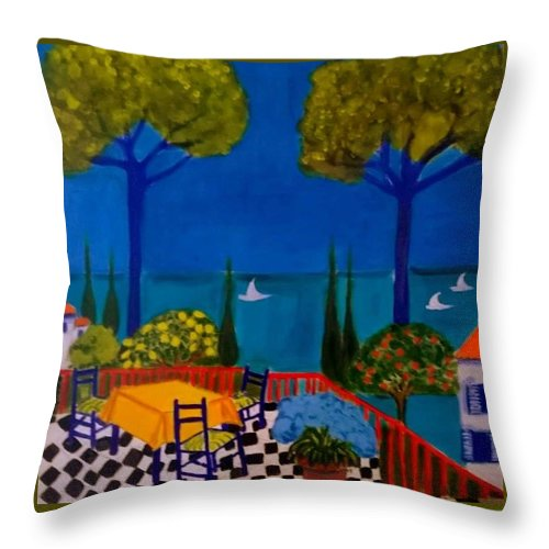 Provence Throw Pillow featuring the painting La Terasse En St Tropez by Rusty Gladdish