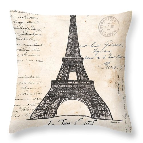 Eiffel Tower Throw Pillow featuring the painting La Tour Eiffel by Debbie DeWitt