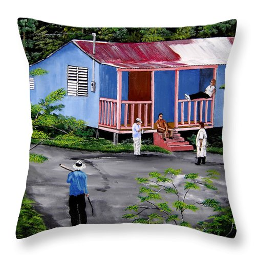 Campo Throw Pillow featuring the painting La Vida En Las Montanas De Moca by Luis F Rodriguez