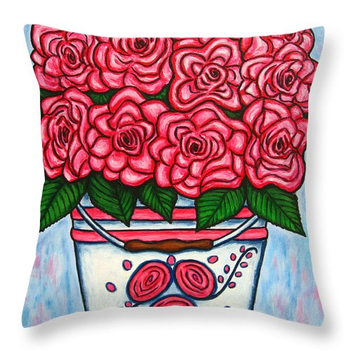 Rose Throw Pillow featuring the painting La Vie en Rose by Lisa Lorenz