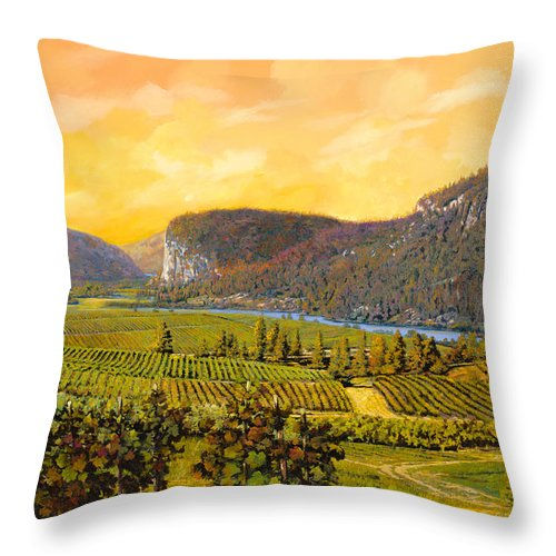 Wine Throw Pillow featuring the painting La Vigna Sul Fiume by Guido Borelli