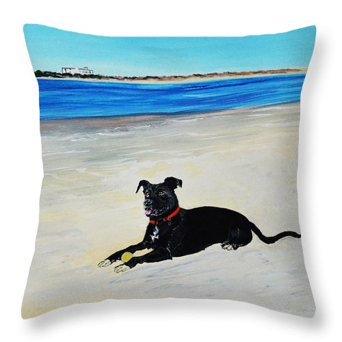 Lab Throw Pillow featuring the painting Lab Loving The Beach by Donna Mann