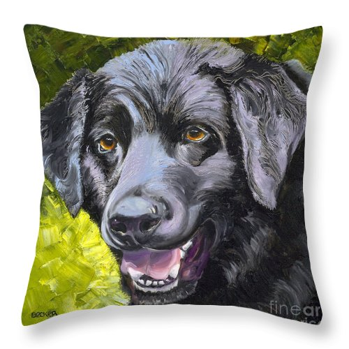 Labrador Retriever Throw Pillow featuring the painting Lab Out Of The Pond by Susan A Becker