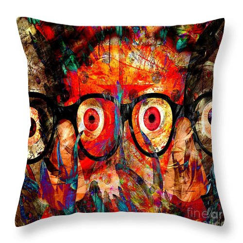 Fania Simon Throw Pillow featuring the mixed media Label The Brain Through The Eyes - Lords Of Madness by Fania Simon