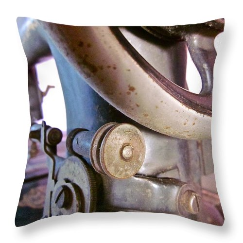 Photograph Of Sewing Machine Throw Pillow featuring the photograph Labor Of Love by Gwyn Newcombe