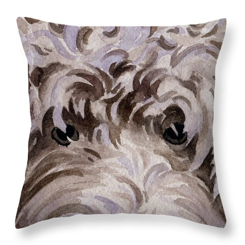 Labradoodle Throw Pillow featuring the painting Labradoodle by David Rogers