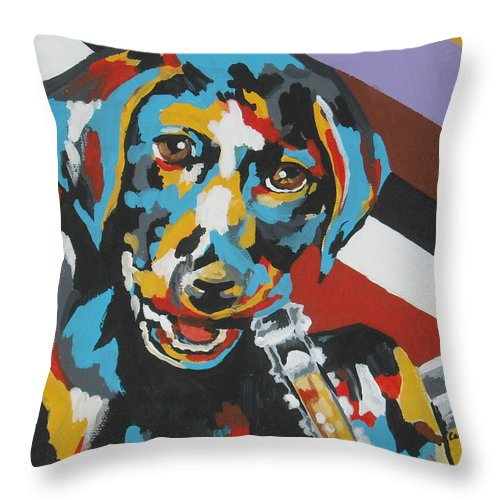 Puppy Throw Pillow featuring the painting Labrador Puppy by Caroline Davis