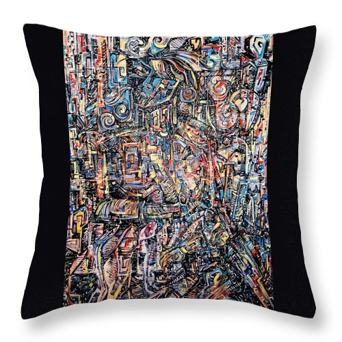 Surrealism Throw Pillow featuring the painting Labyrinth Of Sorrows by Darwin Leon